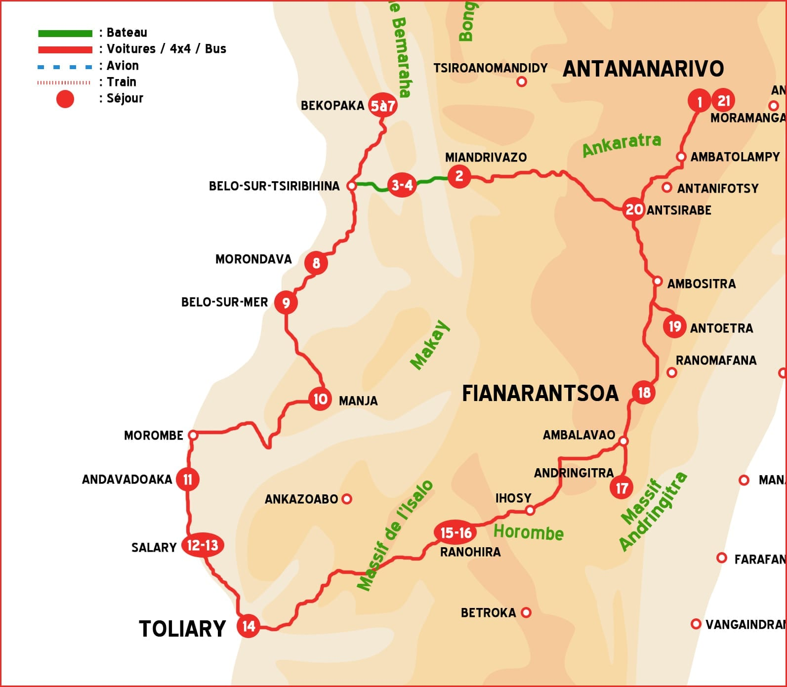 Map of Madagascar Tour : The big Boucle